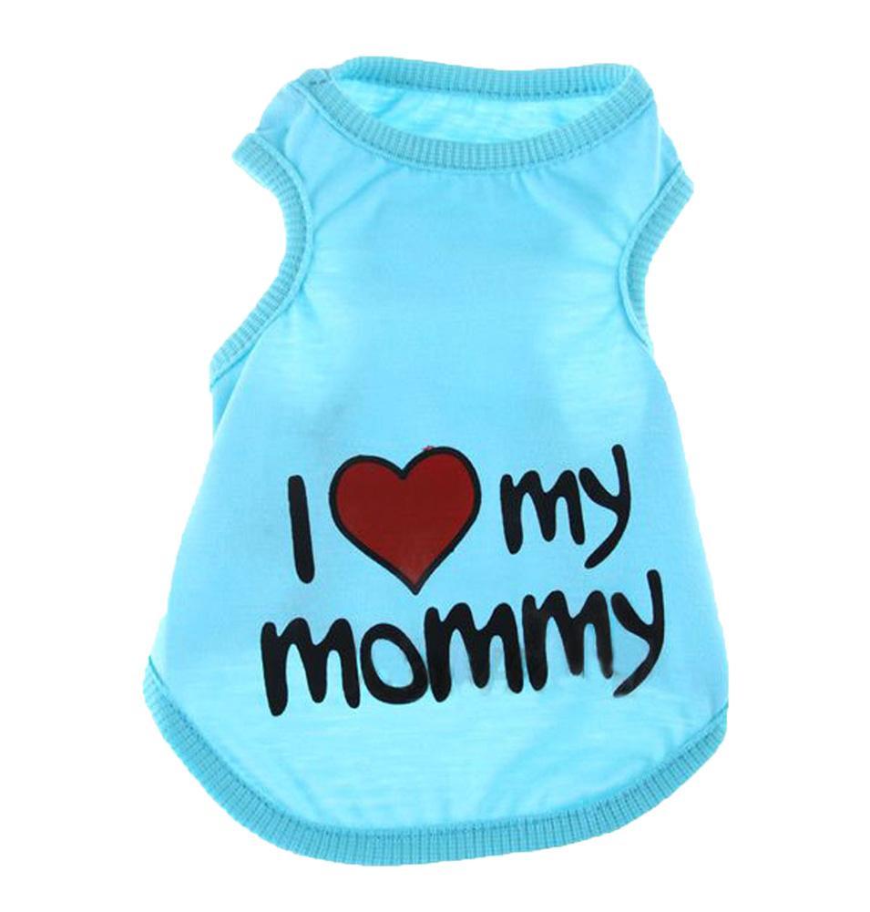 Quzhuo Cute I Love Mommy Kecil Anti-bahan Kimia Katun T Shirt Vest (Light Biru, S)