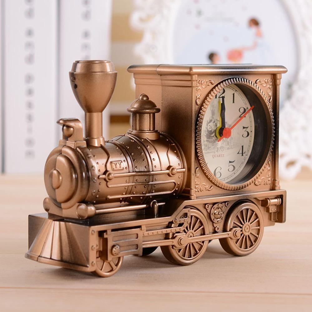 Quzhuo GX Kartun Lokomotif Kereta Jam Alarm Antique Engine Designtable Meja Decor (Perunggu)-Intl