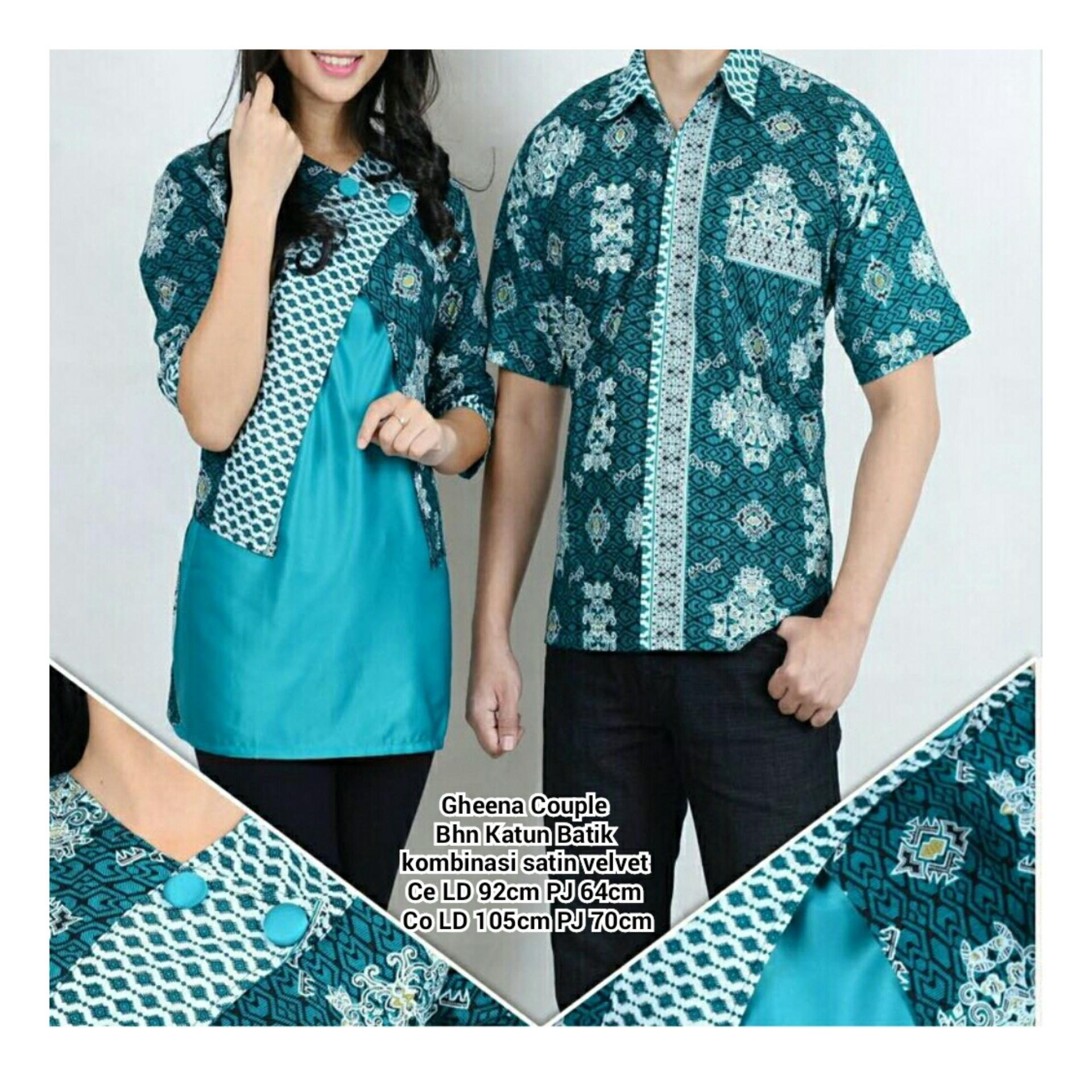 Kualitas Qx Sb Collection Couple Atasan Kemeja Batik Gheena Hijau Sb Collection