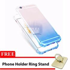 Rainbow Case Anti Crack Gradasi Vivo Y55 FREE Phone Holder Ring / Jelly Soft Case / Softshell Ultrathin Gradasi / Casing Vivo / Case HP Unik - Biru