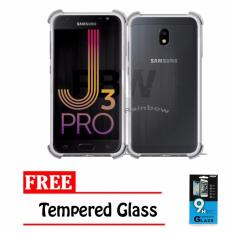 Rainbow Case Anti Crack Samsung Galaxy J3 Pro 2017 J330 + FREE Temper Glass / Soft Case Anti Shock Samsung J3 Pro 2017 J330 / Softshell Shockproof Samsung J330 / Ultrathin J330/ Jelly Casing Samsung / Case HP - Transparan