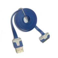 Rainbow Data Sync Cable & Charging Cable USB Flat 30pin / Kabel Data & Charging Pipih For Apple iPhone 4/4s/ iPad - Biru