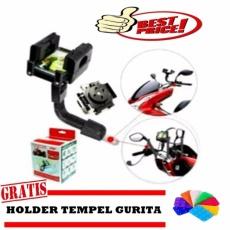 rainbow holder Motor Phone Holder Motor Jepit Spion motor / GPS Phone Holder for Motorcycles Hitam