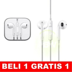 Rainbow iphone 5 Earphone iphone 6 Earphone Apple Earphone Iphone Handsfree with Mic Control (GRATIS BELI 1 DAPAT 1) - Putih