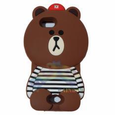 Rainbow Oppo Neo 5 A31 Silicone Soft Back Case 3D Beruang Cokelat Lis Baju Garis Hitam / Case HP / Casing Oppo  / Silikon HP / Softcase Kartun / Soft Back Case Unik Lucu - Boy Bear Brown Line