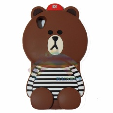 Rainbow Oppo Neo 9 A37 Silicone Soft Back Case 3D Beruang Cokelat Lis Baju Garis Hitam / Case HP / Casing Oppo / Silikon HP / Softcase Kartun / Soft Back Case Unik Lucu - Boy Bear Brown Line