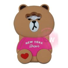 Rainbow Samsung Galaxy J1 Ace Sillicone Soft Case 3D Karakter Animasi Beruang With Clothes Mode / Casing Samsung J1 Ace / Silikon Samsung J1 Ace - Bear Brown Line New York