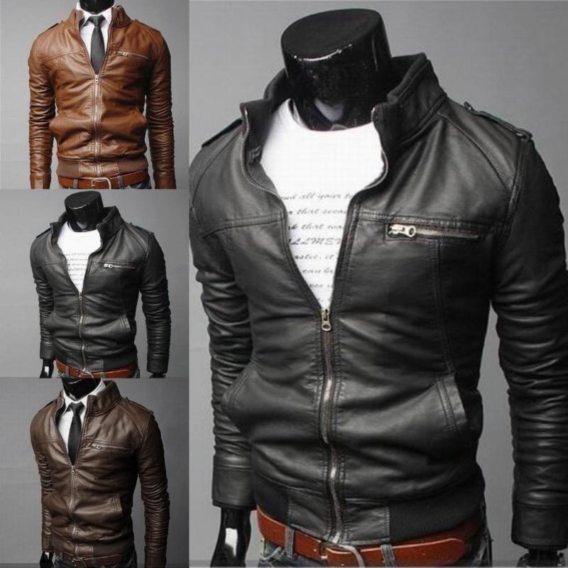 Rainbow Situs Merek Baru Pria Tombol Fashion Pria Jaket Mens Multi Zipper Tombol Collar Leather Lengan Jaket Lambang Cool Akio Motor-Dark Brown-XXL-Intl