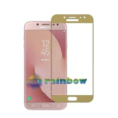 Rainbow Tempered Glass Samsung Galaxy J3 Pro 2017 J330 Emas / Temper Glass Full Screen Gold Samsung J3 Pro 2017 / Anti Gores Kaca Screen Protector Samsung J3 Pro 2017 / Pelindung Layar / Temper Samsung J3 Pro 2017 (Depan Only) - Gold