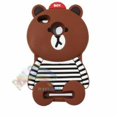 Rainbow Xiaomi Redmi 4X Silicone Soft Back Case 3D Beruang Cokelat Lis Baju Garis Hitam / Case HP / Casing Xiaomi / Silikon HP / Softcase Kartun / Soft Back Case Unik Lucu - Boy Bear Brown Line