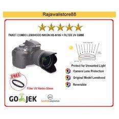 Rajawali Combo Lenshood HB-N106 + Filter UV 55mm (Nikon AF-P 18-55 VR/Nikon D3400/D5300/D5500)