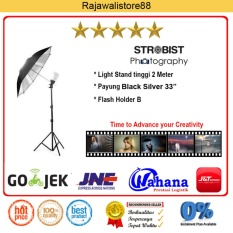 Rajawali Light Stand + Flash Holder + Payung Black-Silver 33