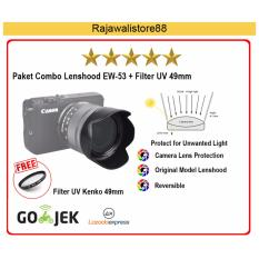Rajawali Paket Combo Lenshood EW-53 + Filter UV 49mm (For Canon M10/M3 Kit 15-45 IS STM)