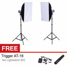 Rajawali Paket Studio Tornado T-200B / Tronic Killer - 2 Lighting + Softbox 50x70 cm - Free Trigger + Tas Lightstand