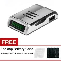 Rajawali Smart Quick Charger Aa / Aaa C905w, Free Battery AA Eneloop Pro 2550mAH BP-4 + Case