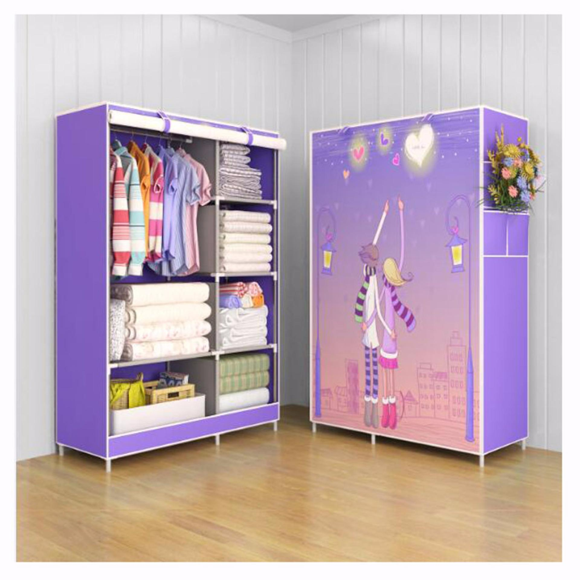 Rak Baju Serbaguna Lemari Baju Serbaguna Wardrobe Cloth Rack with cover Furniture Murah Love Couple