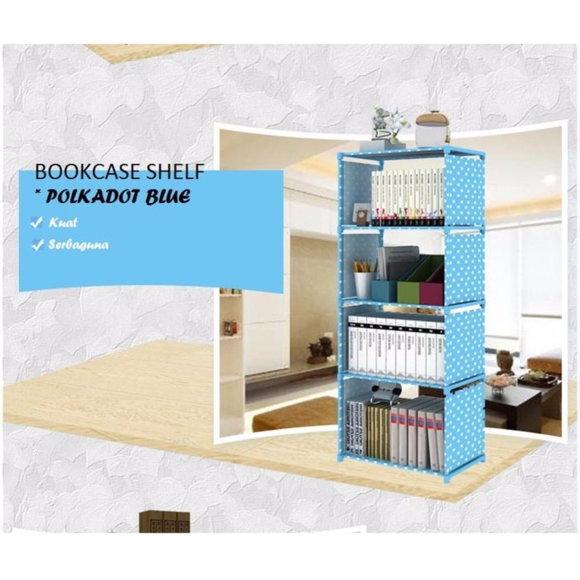 Rak Buku Serbaguna Rak Polkadot Rak Buku 5 Susun Portable Biru Polkadot Diskon Indonesia
