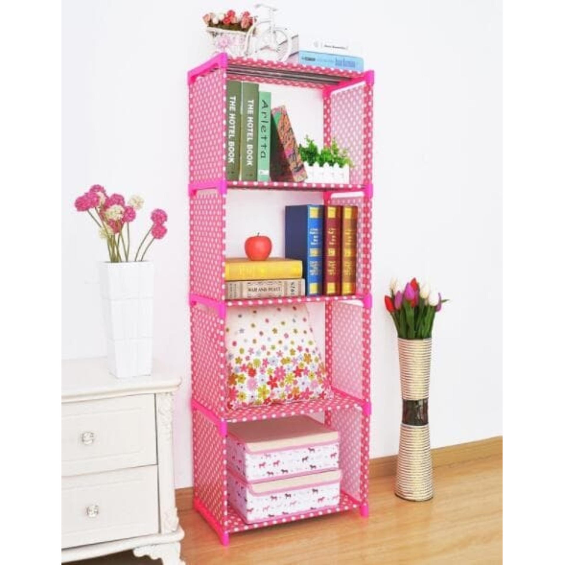 Rak Portable Serbaguna 5 Susun 4 Ruang Pink Polkadot Rak Buku Diskon