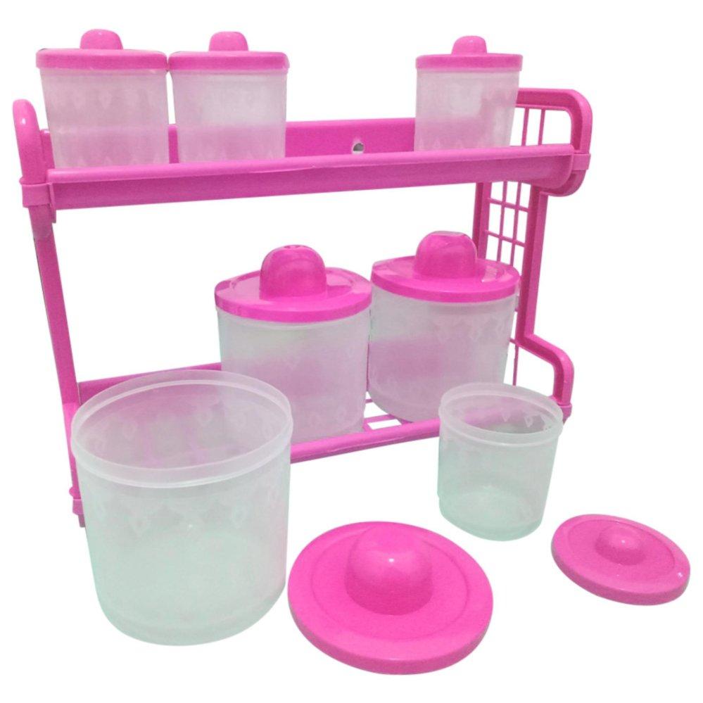 Jual Rak Dapur Tempat Bumbu Alumunium Tempel Dinding Gantungan Sendok Pisau Kitchen Set Monaco 7 Tabung Transparant Pink