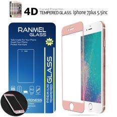 Ranmel 4D Full Curved Tempered Glass Warna Full Screen Cover For Iphone 7 Plus - Rose Gold