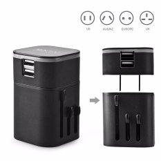 Beli Ranwd Travel Adapter Universal Travel Plug With Dual 3 2A Usb Ports Us To Uk Eu Au All In One Worldwide Travel Power Adapter Safety Fuse Protection Adaptor International Ac Wall Charger Intl Online Tiongkok