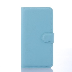 [Ready Stock] Fashion Phone Cases For Lenovo A5860 / Golden Warrior S8 Retro Luxury Leather Wallet Flip Cover Case Solid Color Shell TSMY ( Blue ) - intl