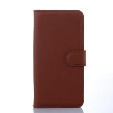 [Ready Stock] Fashion Kasus Telepon untuk Lenovo A5860/Golden Warrior S8 Retro Mewah Dompet Kulit Flip Cover Kasus Warna Solid Shell TSMY (Brown) -Intl