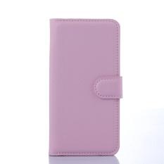 [Ready Stock] Fashion Kasus Telepon untuk Lenovo A5860/Golden Warrior S8 Retro Mewah Dompet Kulit Flip Cover Kasus Warna Solid Shell TSMY (Pink) -Intl