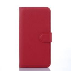 [Ready Stock] Fashion Kasus Telepon untuk Lenovo A5860/Golden Warrior S8 Retro Mewah Dompet Kulit Flip Cover Kasus Warna Solid Shell TSMY (Merah) -Intl