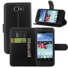 [Ready Stock] Flip Phone Case untuk ZTE Blade Apex 2 Kulit Retro Mewah Flip Wallet Cover BHKJ (hitam) -Intl