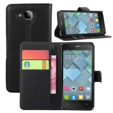 [Ready Stock] Leather Phone Cases [ For Alcatel One touch Idol S OT6034R 6034Y ] New Arrival Original Vintage Wallet Flip Cover XPSP ( Black ) - intl
