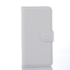 [Ready Stock] Kulit Telepon Kasus untuk Alcatel Pop C5 OT5036D Mewah Retro Kulit Dompet Flip Cover Solid Warna Shell XHC (Hitam) -Intl