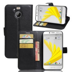 [Ready Stock] Kulit Kasus Telepon untuk HTC 10 EVO (Bolt) Mewah Retro Kulit Dompet Flip Cover Solid Warna Shell XHC (Hitam)-Intl