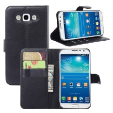 [Siap Stok] Kasus Kulit [untuk Samsung Galaksi Grand 3 G7200] Retro Klasik Dompet Lipat Pelindung sarung Akq (Hitam) -Internasional