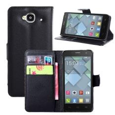 [Ready Stock] SZYHOME Ponsel Kasus untuk Alcatel One Touch Idol Mini OT6012 Mewah Retro Kulit Dompet Flip Cover Kasus Warna Solid Shell (Hitam) -Intl