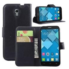 [Ready Stock] Szyhome Ponsel Case untuk Alcatel One Touch POP 2 Ot5042x 4.5 Inch Mewah Retro Dompet Kulit Flip Cover Hitam Biru Coklat Hijau Merah Muda Ungu Merah Rose Putih Warna Solid Shell-Intl