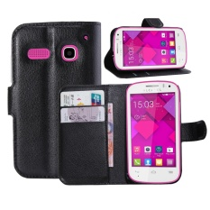 [Ready Stock] SZYHOME Ponsel Kasus untuk Alcatel One Touch POP C3 OT4033 Mewah Retro Kulit Dompet Flip Cover Hitam Biru Coklat Hijau Merah Muda Ungu Merah Rose Putih Warna Solid Shell-Intl