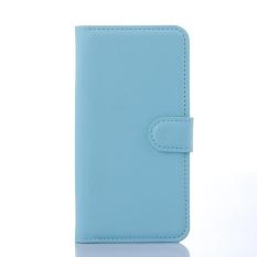 [Ready Stock] SZYHOME Ponsel Case untuk Alcatel Pop C5 OT5036D Mewah Retro Kulit Dompet Flip Cover Case Solid Warna Shell (Biru) -Intl