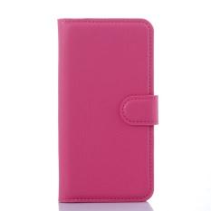 [Ready Stock] SZYHOME Ponsel Case untuk Alcatel Pop C5 OT5036D Mewah Retro Kulit Dompet Flip Cover Case Solid Warna Shell (Rose) -Intl
