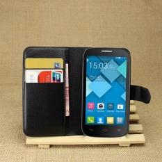 [Ready Stock] Szyhome Ponsel Case untuk Alcatel Pop C5 Ot5036d Mewah Retro Dompet Kulit Flip Penutup Hitam Biru Brown Hijau Merah Muda Ungu Merah Rose Putih Warna Solid Shell-Intl