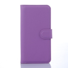 [Ready Stock] SZYHOME Phone Cases For BlackBerry Leap Luxury Retro Leather Wallet Flip Cover Solid Color Shell ( Purple ) - intl