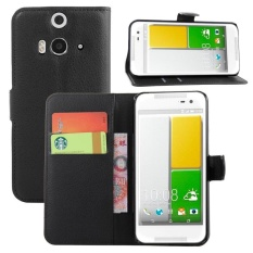 [Ready Stock] SZYHOME Phone Cases For HTC Butterfly 2 / B810X Luxury Retro Leather Wallet Flip Cover Case Solid Color Shell ( Black ) - intl