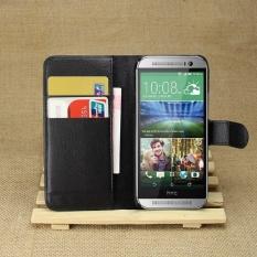 [Ready Stock] Szyhome Ponsel Case untuk HTC One Mini 2 Luxury Retro Dompet Kulit Flip Penutup Hitam Biru Brown Hijau Merah Muda Ungu Merah Rose Putih Warna Solid Shell-Intl