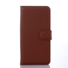 [Ready Stock] Szyhome Ponsel Case S untuk Lenovo A5860/Golden Warrior S8 Mewah Retro Dompet Kulit Flip Cover Case Warna Solid Shell (Brown) -Intl