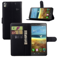 [Ready Stock] Szyhome Ponsel Case S untuk Lenovo K50 A7600 Mewah Retro Dompet Kulit Flip Cover Case Solid Warna Shell (hitam) -Intl