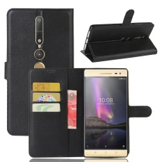 [Ready Stock] Szyhome Ponsel Case S untuk Lenovo PhaB 2 Pro Luxury Retro Dompet Kulit Flip Cover Case Solid Warna Shell (hitam) -Intl