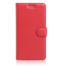 [Ready Stock] SZYHOME Phone Cases For Lenovo Vibe C2 Power Luxury Retro Leather Wallet Flip Cover Case Solid Color Shell ( Red ) - intl