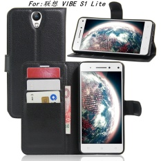 [Ready Stock] SZYHOME Ponsel Case untuk Lenovo VIBE S1 Lite Mewah Retro Kulit Dompet Flip Cover Case Solid Warna Shell (Hitam) -Intl