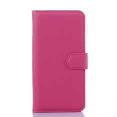[Ready Stock] SZYHOME Ponsel Case untuk Samsung Galaxy On7/G6000/On7 Pro Mewah Retro Kulit Dompet Flip Cover Case Warna Solid Shell (Rose) -Intl