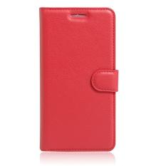 [Ready Stock] SZYHOME Ponsel Case untuk ZTE Blade V8 Lite Mewah Retro Kulit Dompet Flip Cover Case Solid Warna Shell (Merah) -Intl